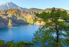 Turkish landscape with Olympos mountain, beach  green forest Stock Image