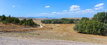Turkish landscape. Sunny panorama of the Turkish Interior stock photo