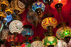 Turkish Lanterns on the Grand Bazaar in Istanbul, Turkey Royalty Free Stock Image