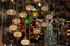 Turkish lanterns. Mosaic, flashlights on the market, oriental flavor Stock Photos
