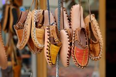 Turkish leather slippers on sale Stock Images