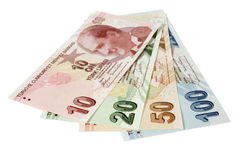 Turkish lira banknotes. Turkish lira as banknotes on white background Stock Photo