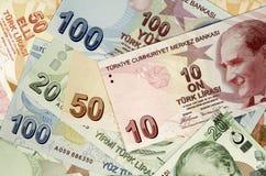 Turkish lira banknotes. Pile of Turkish lira as banknotes as background Royalty Free Stock Images