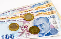 Turkish Lira Banknotes and Coins Royalty Free Stock Photo
