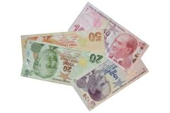 Turkish lira banknotes composition Royalty Free Stock Images