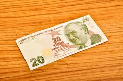 20 Turkish lira banknotes front view. 20 Turkish Lira banknotes printed by the Central Bank of Turkey, front view royalty free stock image