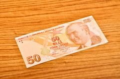 50 Turkish lira banknotes front view. 50 Turkish Lira banknotes printed by the Central Bank of Turkey, front view royalty free stock photo