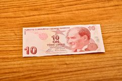 10 Turkish lira banknotes front view. 10 Turkish Lira banknotes printed by the Central Bank of Turkey, front view stock photo