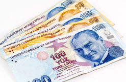 Turkish Lira Banknotes - Front View Stock Images