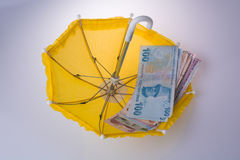 Turkish Lira banknotes placed on an umbrella Stock Photos