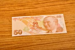 50 Turkish lira banknotes front view. 50 Turkish Lira banknotes printed by the Central Bank of Turkey, front view royalty free stock images