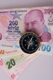 Turkish Lira banknotes by the side of a compass Stock Photography