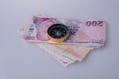 Turkish Lira banknotes by the side of a compass Stock Photo