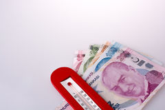 Turkish Lira banknotes by the side of a red color temperature Royalty Free Stock Photography