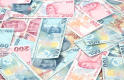 Turkish Lira banknotes ( TRY or TL ) 100 TL and 200 TL Stock Photo