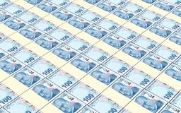 Turkish lira bills stacks background. Stock Photos