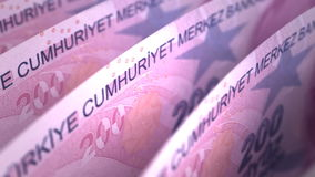Turkish Lira Close-up. (Digitally generated footage stock footage