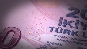 Turkish Lira Close-up. (Digitally generated footage stock video