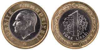 1 Turkish lira coin, 2011, both sides Stock Photo