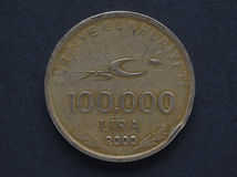 Turkish Lira coin. 100000 Turkish Liras (TRY) coin - withdrawn with the 2005 revaluation Stock Photography
