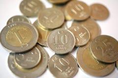 Turkish Lira coins. Turkish money coins on white background Royalty Free Stock Photo