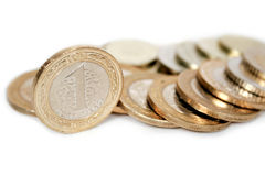 Turkish lira coins. Turkish lira -coins on white background with shadow Royalty Free Stock Photo