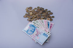 Turkish Lira coins and banknotes side by side Royalty Free Stock Image