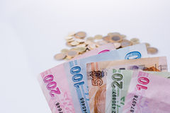 Turkish Lira coins and banknotes side by side Stock Images