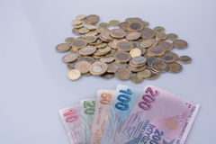 Turkish Lira coins and banknotes side by side Stock Photography