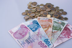 Turkish Lira coins and banknotes side by side Stock Image