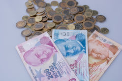 Turkish Lira coins and banknotes side by side Royalty Free Stock Photography