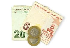 Turkish lira coins and folded notes Stock Photography