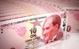 10 turkish lira. 3d render 10 turkish lira stacking depth of field (close-up Royalty Free Stock Photography