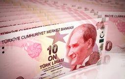 10 turkish lira. 3d render 10 turkish lira stacking depth of field (close-up Stock Illustration