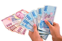 Turkish lira held on a white background Royalty Free Stock Image