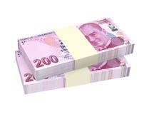 Turkish lira isolated on white background. Royalty Free Stock Photo