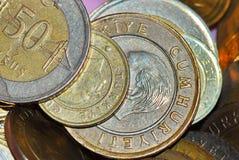 Turkish Lira. Macro view of Turkish coins Royalty Free Stock Photos