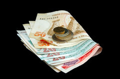 Turkish Lira - notes and coins folded Stock Photo