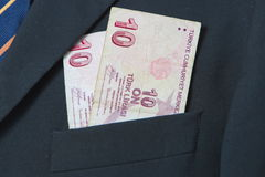 Turkish Lira in the pocket of a suit. Background Stock Photography