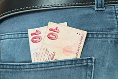 Turkish Lira in the pocket of a suit. Background Royalty Free Stock Images
