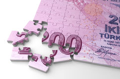 Turkish Lira and Puzzle Stock Images
