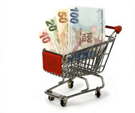 Turkish lira in shopping trolley Royalty Free Stock Photo