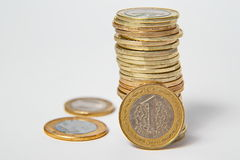 Turkish Lira in stack on isolated background. Turkish Lira on isolated background Stock Photo