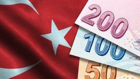 Free Turkish Lira With Turkish Flag Royalty Free Stock Image - 123620156