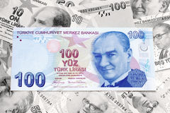 Turkish Liras as background. 100 Turkish Liras as background Royalty Free Stock Images