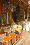 Turkish local spice and food shop. Abundant spice and foods for sale in local shop Stock Photography