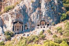 Turkish  Lycian tombs  - ancient necropolis Royalty Free Stock Image