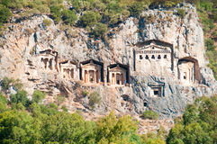 Turkish  Lycian tombs  - ancient necropolis Stock Photo