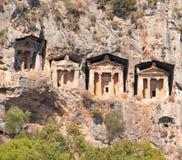 Turkish  Lycian tombs  - ancient necropolis Stock Photos