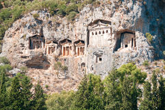 Turkish  Lycian tombs  - ancient necropolis Royalty Free Stock Photos